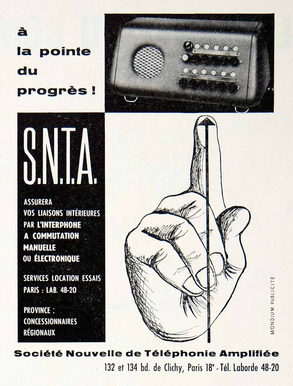 1957 Ad Societe Nouvelle Telephonie Amplifiee 132 Bld Clichy Paris Intercom VEN7