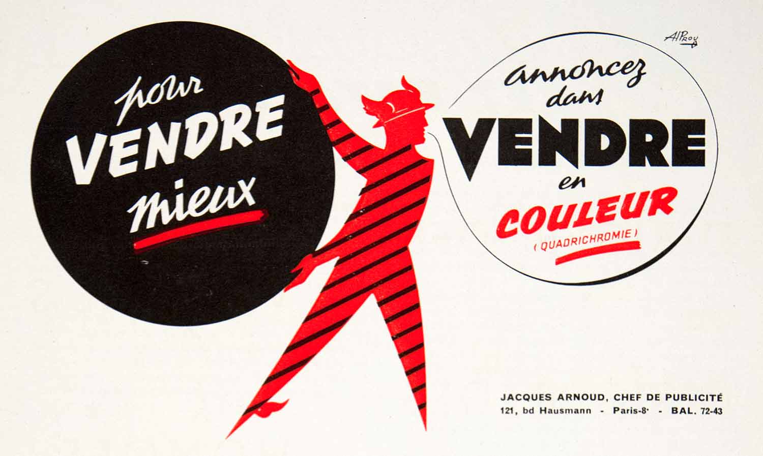 1957 Ad Vendre Hermes Advertising Jacques Arnoud 121 Boulevard Hausmann VEN7