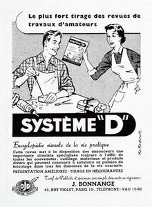 1957 Ad Systeme D 62 Rue Violet Paris Encyclopedia J Bonnange French VEN7