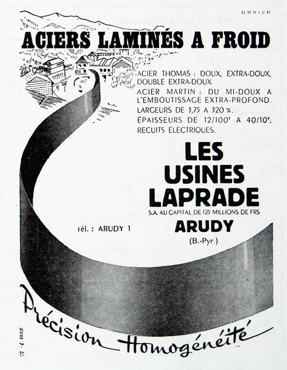 1957 Ad Usines Laprade Arudy Steel Mill Factory French Cold Rolled VEN7