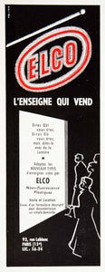1957 Ad Elco Plastic Neon Fluorescent Sign 93 Rue Leblanc Paris Advertising VEN7
