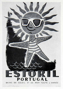 1955 Print Estoril Portugal J Feio Starfish Portugal Advertising Tourism VEN7