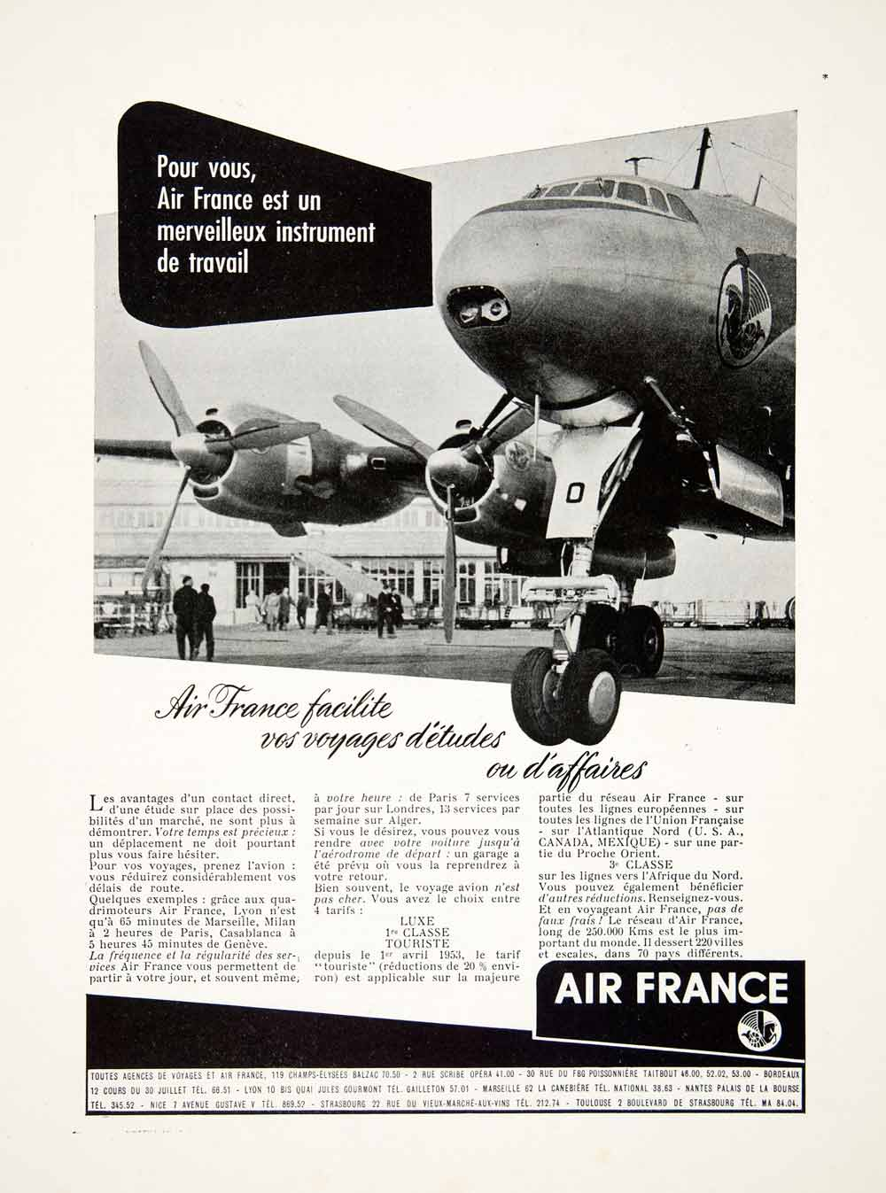 1953 Ad Air France Airline Aeroplane Airplane Airway Engine Travel Flight VEN8