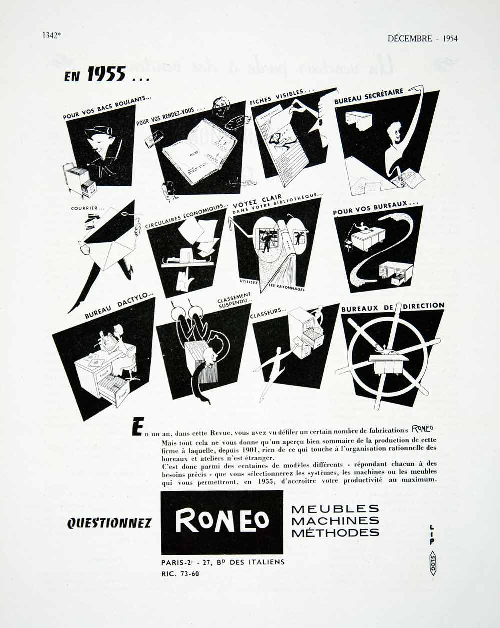 1954 Ad Roneo Office Furniture Filing Cabinet Desk 27 Boulevard Italiens VEN8