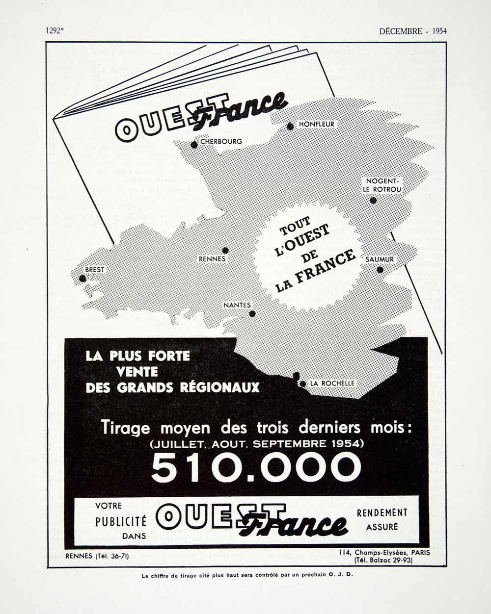 1954 Ad Ouest France 114 Champs-Elysees Paris Newspaper Circulation VEN8