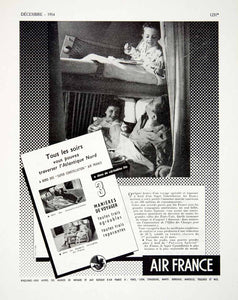 1954 Ad Air France Reclining Seats Family Bunkbed Airline Airway Travel Bed VEN8