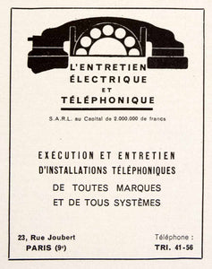 1948 Ad Telephone Installation 23 Rue Joubert Paris French Electrician VEN8