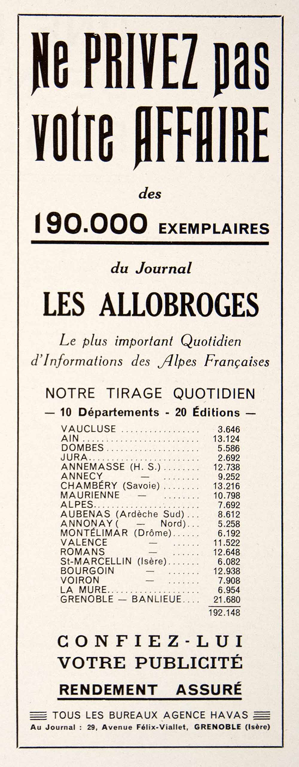 1948 Ad Les Allobroges French Newspaper France Circulation 29 Ave Felix VEN8