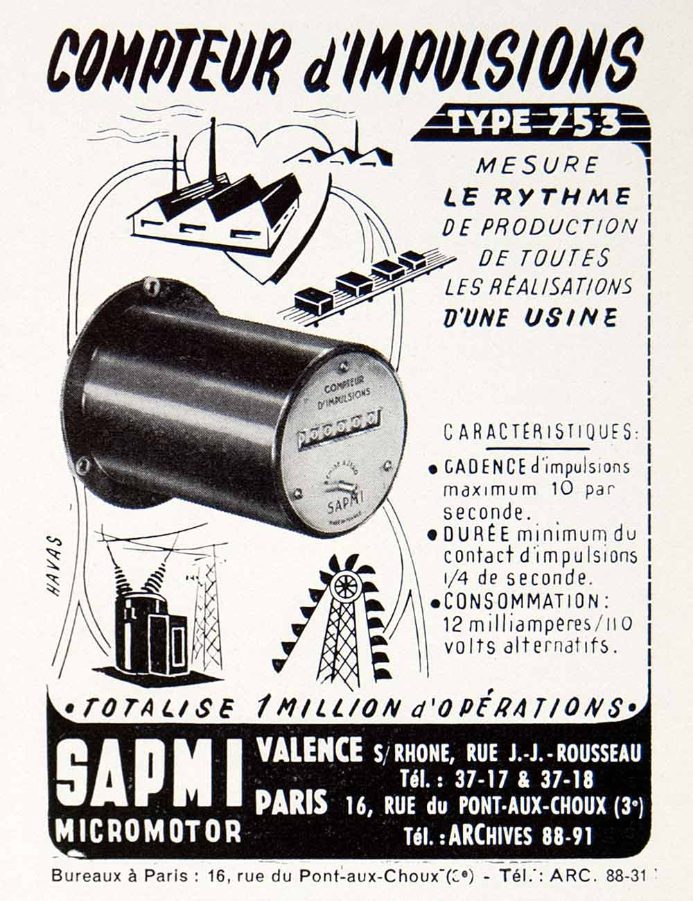 1953 Ad SAPMI Micromotor Counter Meter French Industrial 16 Rue Pont-Aux VEN8