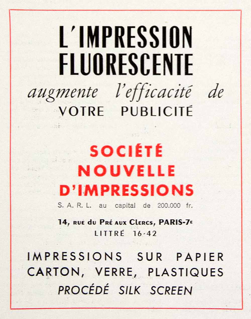 1953 Ad Societe Nouvelle D'Impression 14 Rue Pre Clercs Paris Silk Screen VEN8
