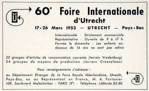 1953 Ad Foire Internationale Utrecht International Fair 109 Blvd VEN8