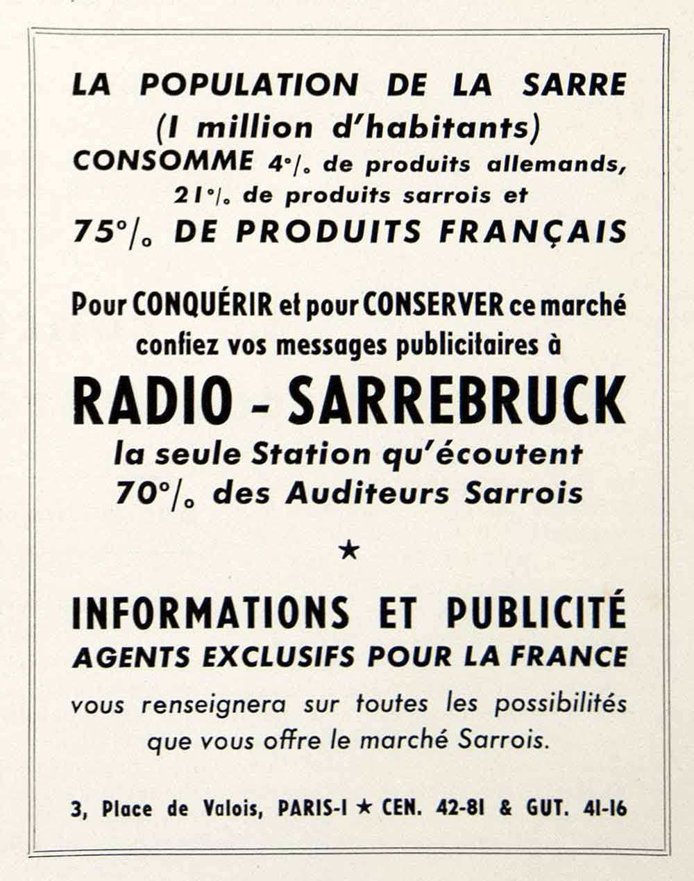 1953 Ad Radio-Sarrebruck 3 Place Valois Paris Station Advertising Selling VEN8