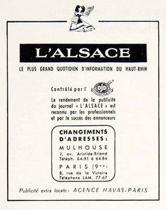 1953 Ad L'Alsace French Newspaper Mulhouse 2 Ave Aristide-Briand Havas VEN8