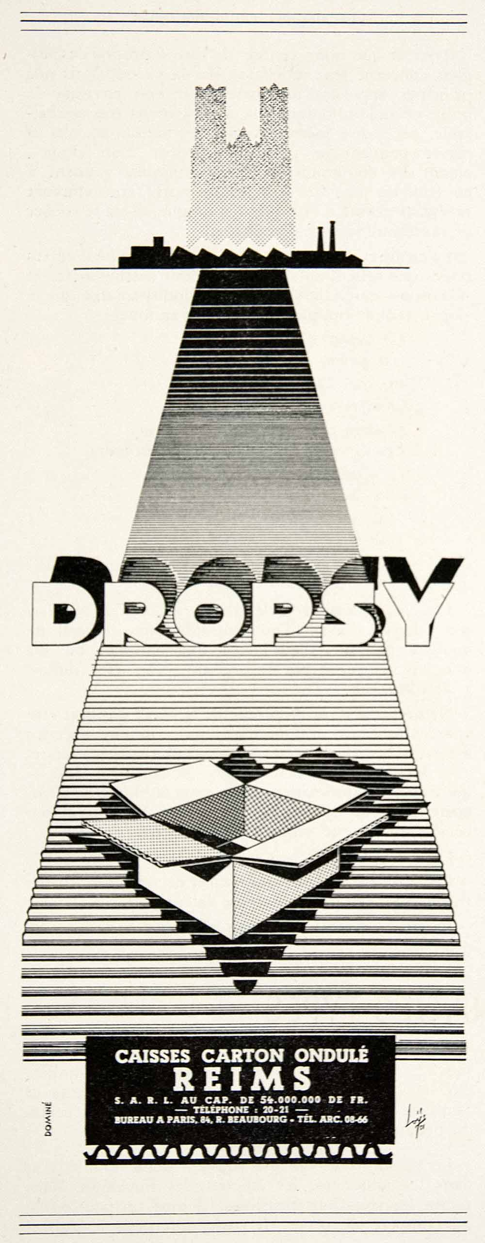 1953 Ad Dropsy Cardboard Boxes Reims Domine French Factory Conveyor Belt VEN8