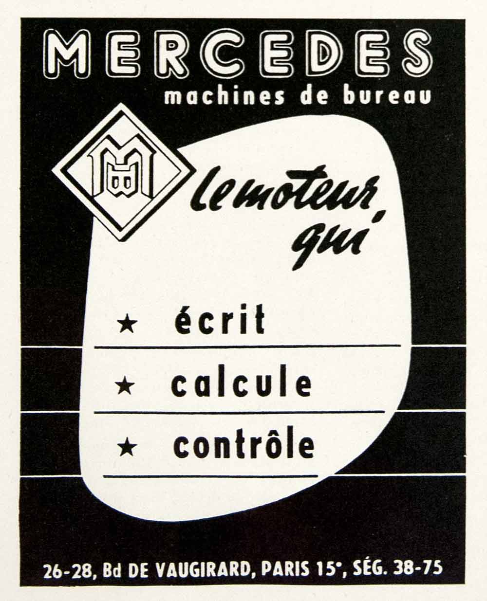 1953 Ad Mercedes 26 Boulevard Vaugirard Paris Office Machines Typewriter VEN8