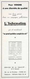 1954 Ad L'Information Newspaper French 102 Rue Richelieu Paris Advertising VEN8