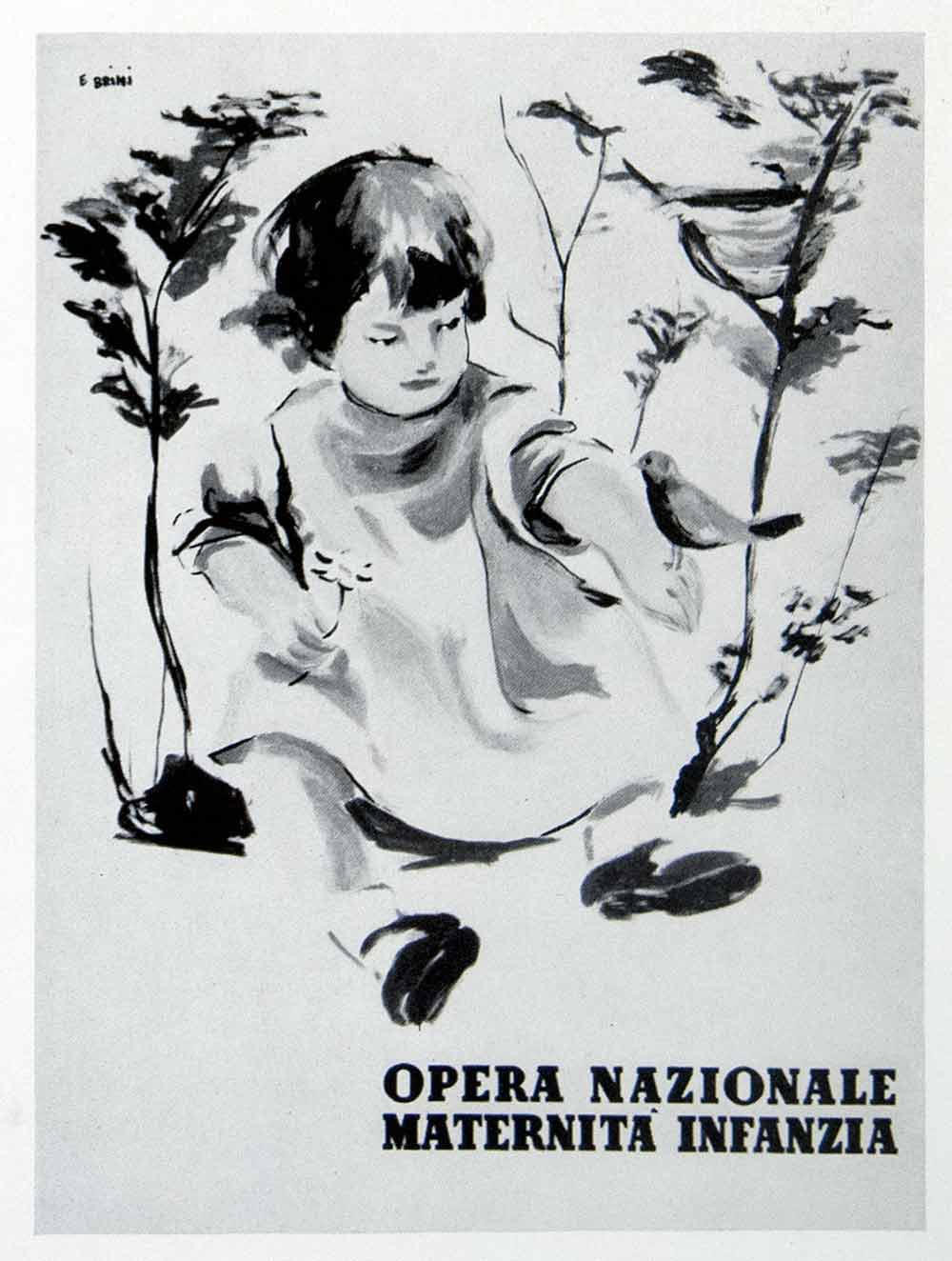 1954 Print Italian Advertisement Ercole Brini Maternita Infanzia Opera VEN8