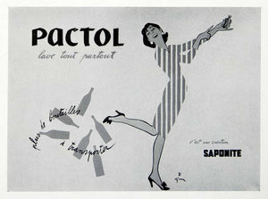 1954 Print Pactol Gruau Saponite Detergent French Advertising Woman VEN8