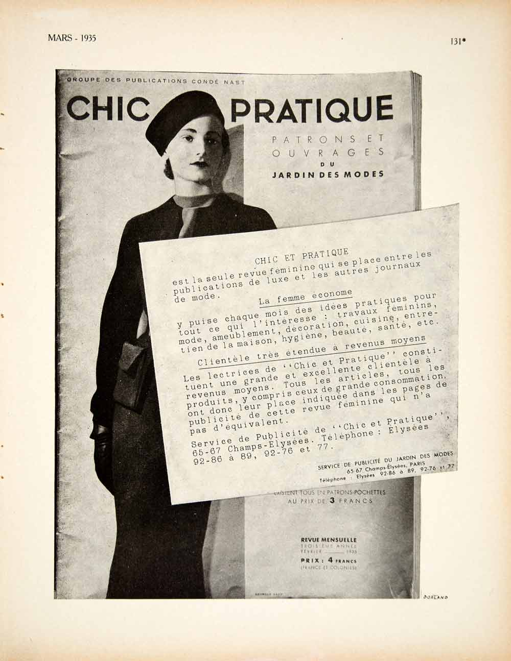 1935 Ad Vintage Chic Practique French Fashion Magazine Women Conde Nast VEN9