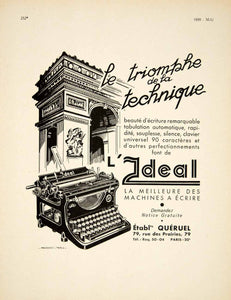 1939 Ad Vintage French Ideal Typewriter Arc de Triomphe Machines a Ecrire VEN9