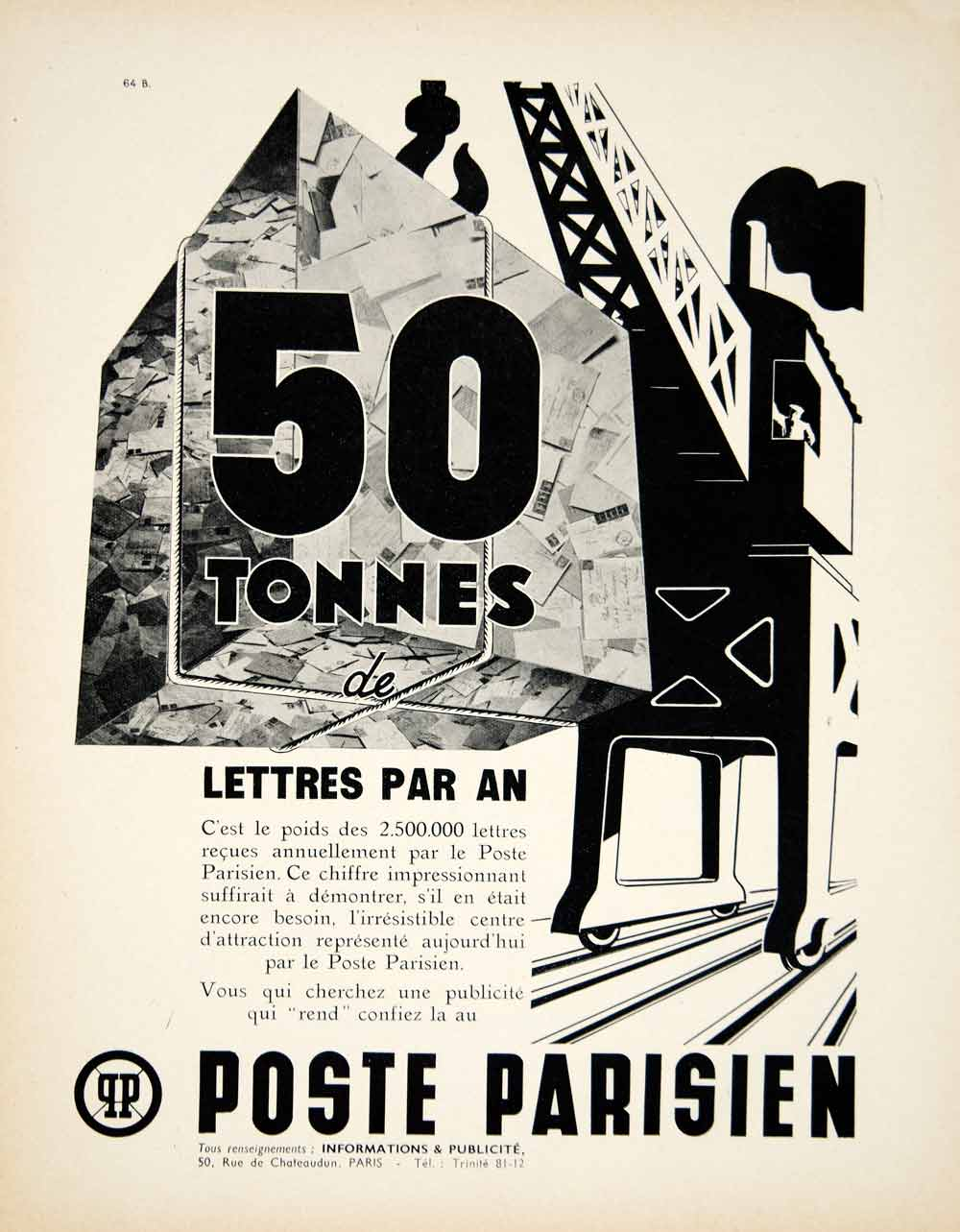 1939 Ad Vintage French Poste Parisien Radio Station Paris Advertising Crane VEN9