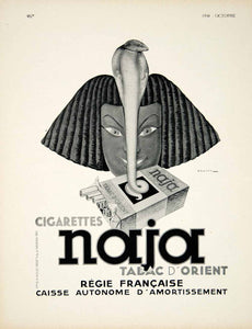 1938 Ad Vintage French Naja Cigarettes Jules Isnard Dransy Egyptian Cobra VEN9