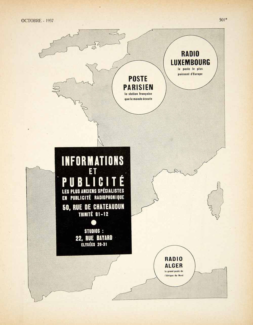 1937 Ad Informations et Publicite Radio Alger Luxembourg French Advertising VEN9 - Period Paper