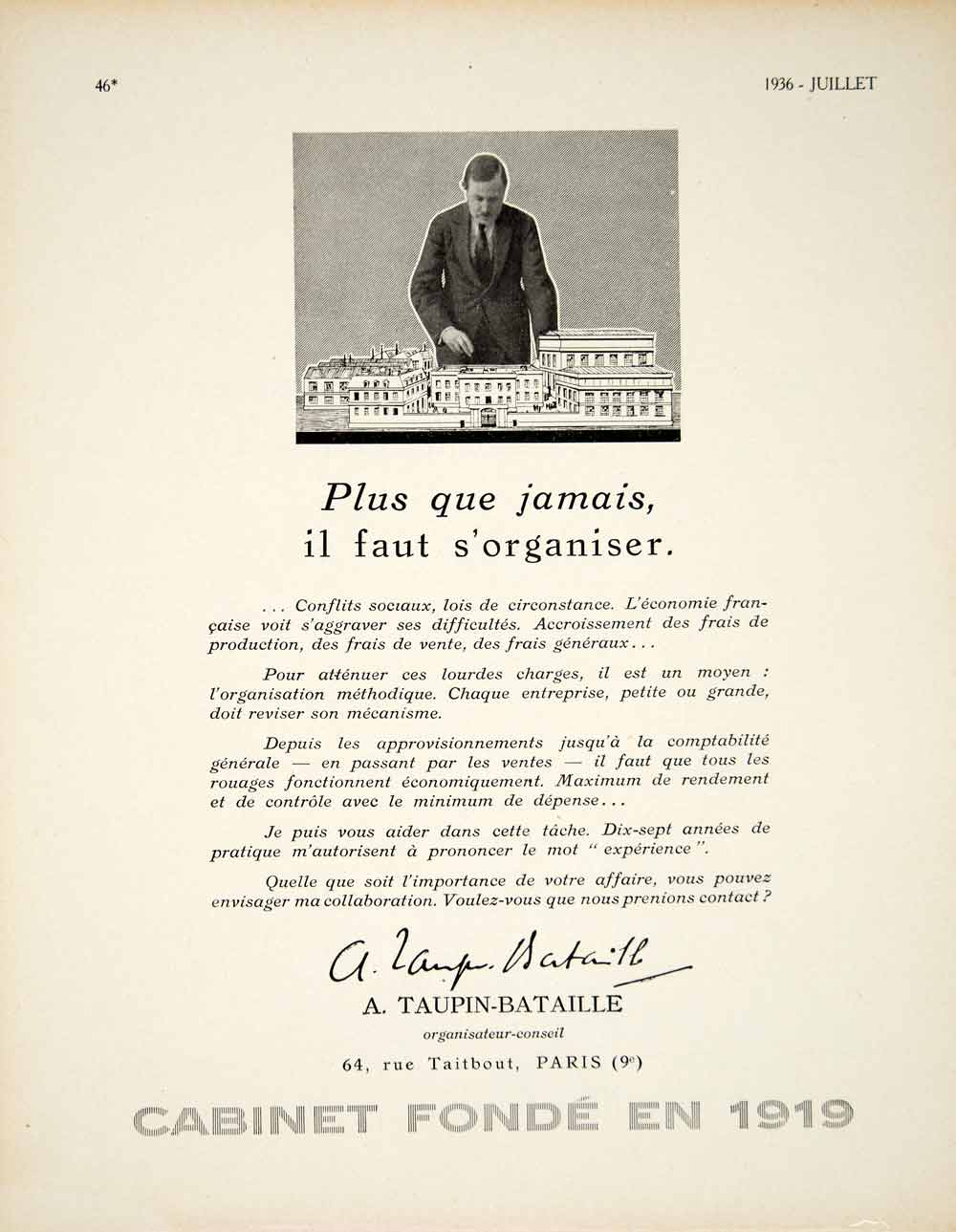 1936 Ad Vintage French A Taupin-Bataille Marketing Advertising Agency Paris VEN9
