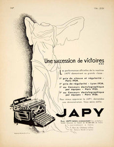 1936 Ad Vintage French Japy 101 Typewriter Typing Winged Victory Statue VEN9 - Period Paper