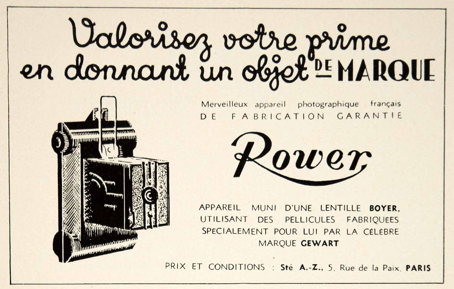 1935 Ad Vintage French Rower Camera Photography Photographie Francais VEN9