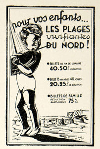 1937 Ad Vintage French Train Travel Beaches North France Boy Child Sailboat VEN9