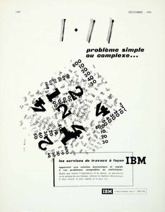 1958 Ad Vintage French IBM Business Problems Accounting Statistics Numbers VENA1