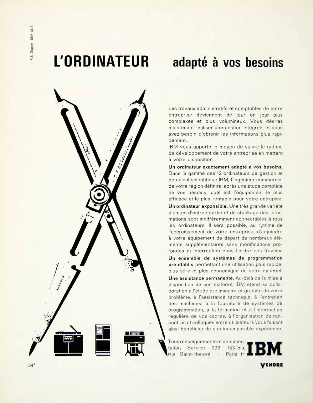 1963 Ad French IBM Computer Ordinateur International Business Machines VENA1