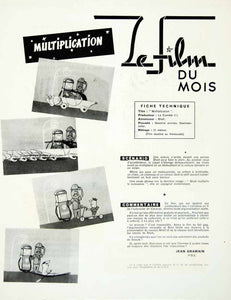 1957 Article French Film Advertising Shell Oil Gasoline Animated Cartoon VENA1