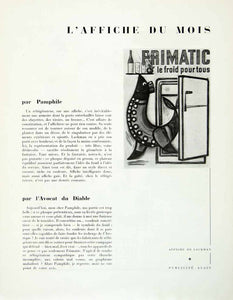 1958 Article French Advertising Frimatic Refrigerator Ad Poster Art Seal VENA1