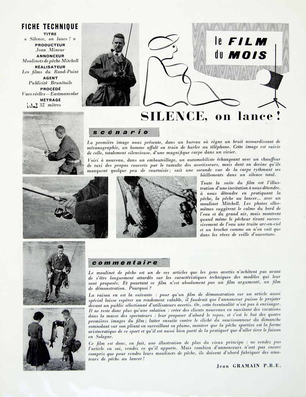 1958 Article French Advertising Film Moulinets de Peche Mitchell Fishing VENA1
