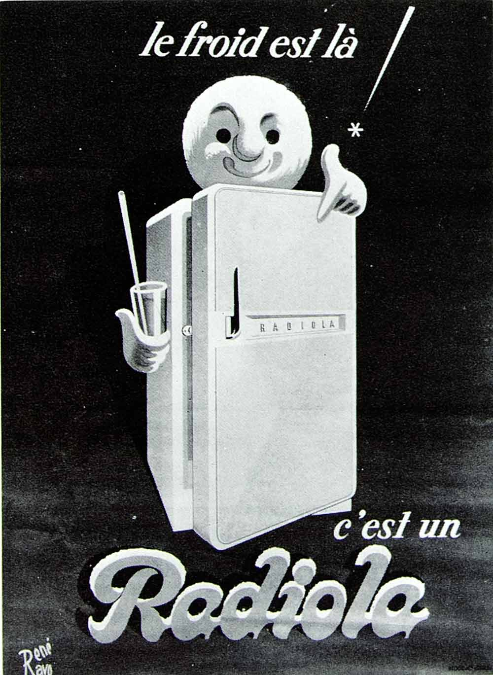 1957 Print Rene Ravo Art French Advertising Poster Refrigerateurs Radiola VENA1