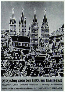 1957 Print Walter Breker Art German Advertising Poster Bamberg Germany Dom VENA1