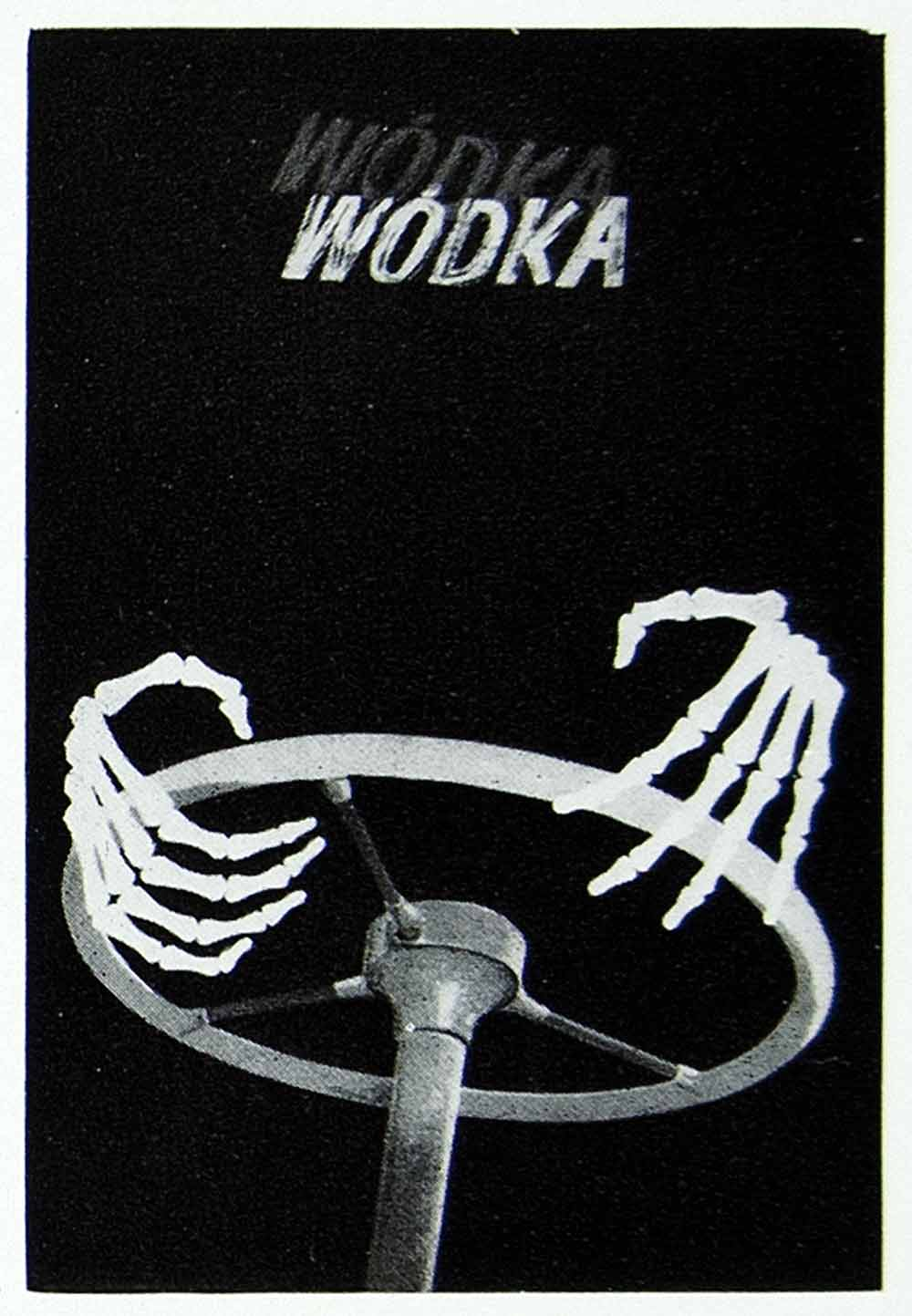 1957 Print Polish Advertising Poster Art Alcoholism Skeleton Hands Driving VENA1