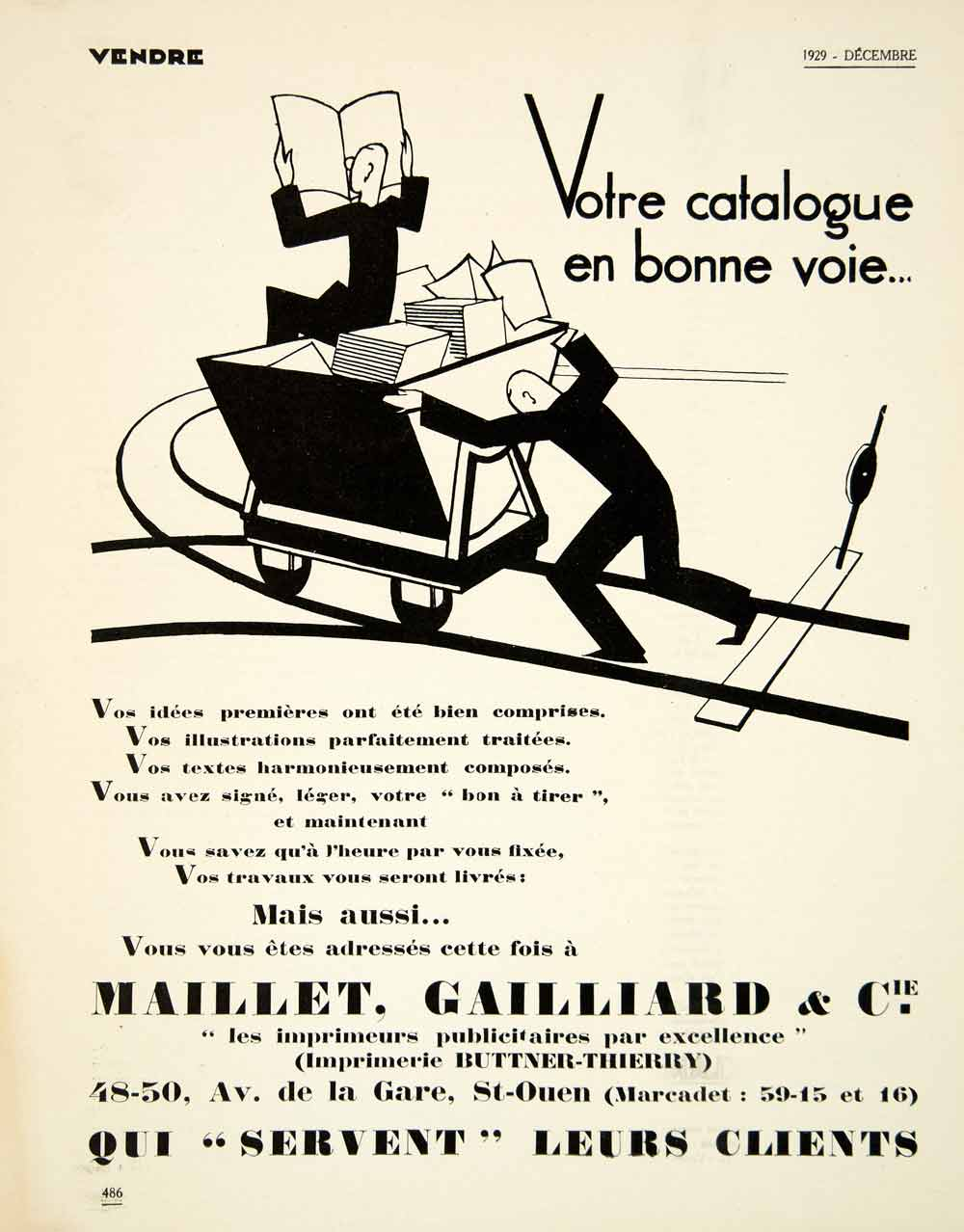 1929 Advertising Maillet Gailliard Buttner-Thierry St Ouen French Printing VENA3