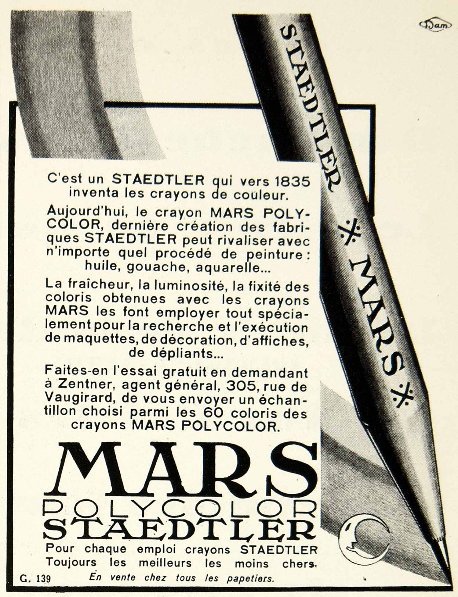 1930 Advert Staedtler Mars Coloring Pencils Polycolor Moon French Paris VENA3