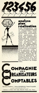 1929 Advert Compagnie Organisateurs Comptables Accounting Alfred Berran VENA3