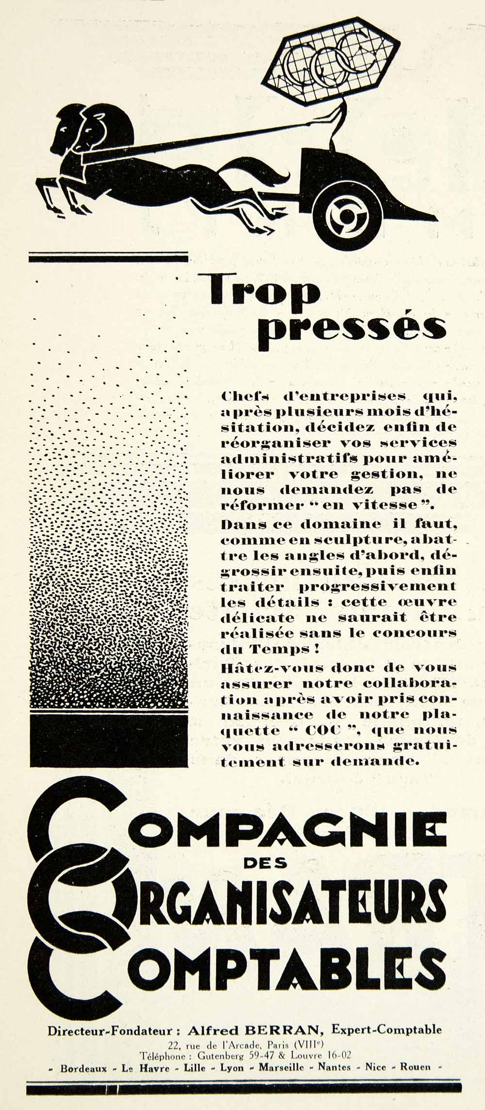 1929 Advert Compagnie Organisateurs Comptables Alfred Berran Accounting VENA3