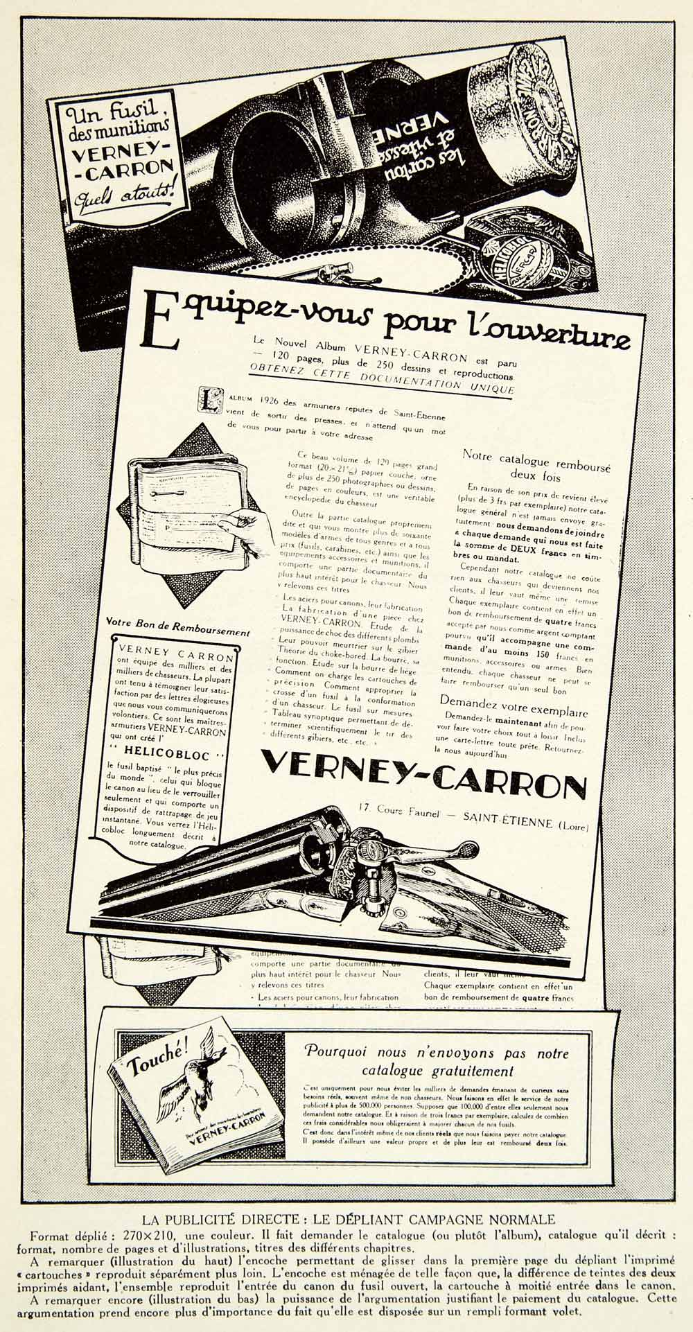 1927 Print Verney-Carron 17 Cours Fauriel Saint-Etienne Gun Rifle French VENA3