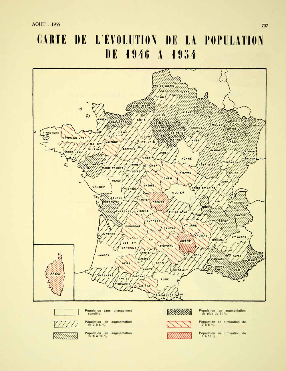 Map Of France Departments.1955 Vintage Map France Population Change 1946 1954 Departments Demography Vena4