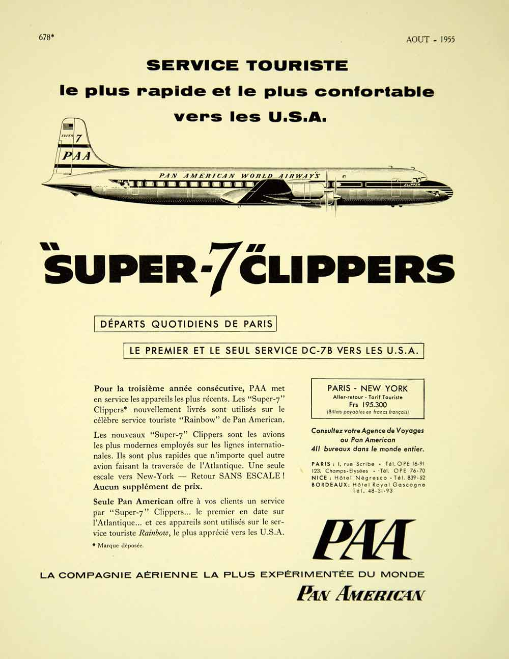 1955 Lithograph French Ad Pan American Super 7 Clipper Airplane Vintage VENA4
