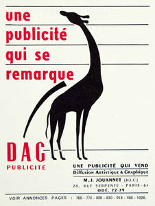 1955 Lithograph Vintage Ad Dag Publicite French Advertising Agency Giraffe VENA4