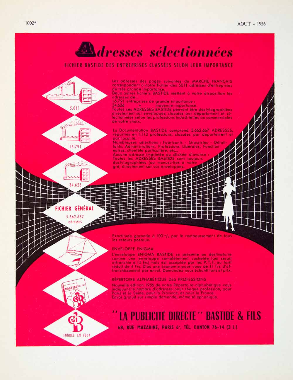 1956 Lithograph French Ad Bastide & Fils Direct Mail Marketing Advertising VENA5