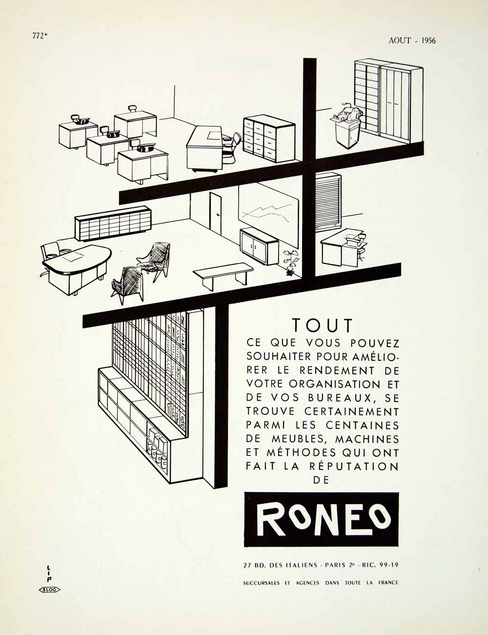 1956 Lithograph French Ad Roneo Office Furniture Desk Chair Files Business VENA5