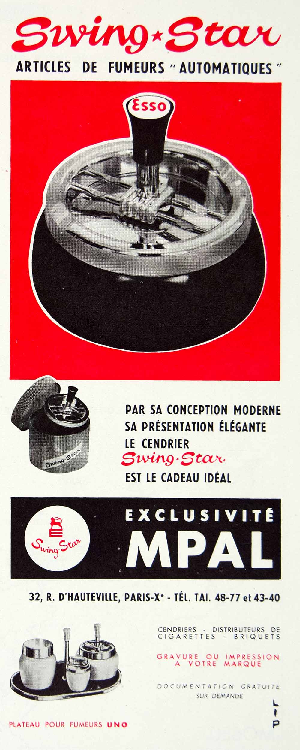 1956 Vintage French Ad Swing Star Ashtray Cendrier Cigarette Smoking MPAL VENA5